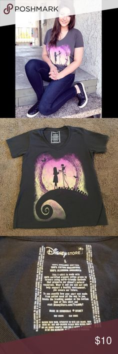 """Nightmare Before Christmas Tee Super cute Disney Nightmare Before Christmas Tee! Only worn once and in great shape! It has purple glitter swirls and says """"Forever & Always"""" in glitter as well. True to size. Disney Tops Tees - Short Sleeve"""