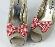 Hey, I found this really awesome Etsy listing at http://www.etsy.com/listing/155955061/red-gingham-shoe-clip-red-white-bow-shoe