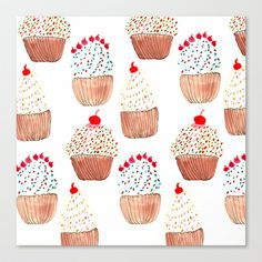Cupcakes Stretched Canvas by Bouffants and Broken Hearts - $85.00