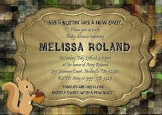 BABY Shower CAMO Invitation squirrel Personalized DIY custom wood hunting photo funny Invite Printable Digital File Announcement