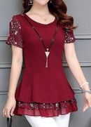 Round Neck Printed Layered Wine Red Blouse – Plus Size Fashion Stylish Dresses, Fashion Dresses, Red Blouses, Shirt Blouses, Mode Style, Sewing Clothes, Dress Patterns, African Fashion, Blouse Designs