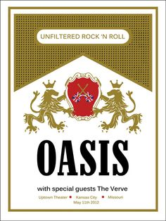Oasis Cigarette Pack Concert Poster 18in x 24in