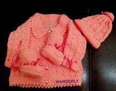 ** TRICO DA WANDERLY**: CASAQUINHO, TOUCA , E SAPATINHO feito em tricô