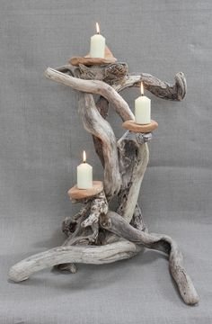 "If you have a driftwood plank, you can drill into it and create a ""room"" for tea lights. Remember, candles and driftwood can create a fire in a second, so when the romantic dinner is over, make sure to turn off the candles. Driftwood Candle Holders, Driftwood Furniture, Driftwood Wall Art, Driftwood Projects, Diy Furniture, Furniture Projects, Wooden Decor, Wooden Diy, Diy Holz"