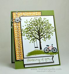 Thinking of You card with Stampin' Up! Sheltering Tree stamp set. #papercrafts #cardmaking #Stampinup