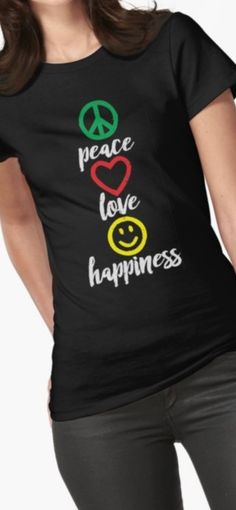 'Peace, Love and Happiness Signs and emoji' T-Shirt by identiti Peace Love Happiness, Peace And Love, Custom Design Shirts, Shirt Designs, Happy Signs, Creative T Shirt Design, Silhouette, T Shirts For Women, Stylish