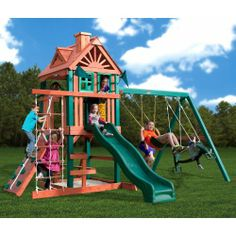 """Costco $999.99  (save 300) Gorilla® Playsets Five Star Playset.  Measures 16 L x 13 W x 10'6"""" H  slide, swing, trapeze bar, glider, rock wall, rope ladder, step ladder, picnice table, telescope, steering wheel tic-tac-toe spinner"""