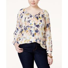 Lucky Brand Plus Size Long-Sleeve Floral-Print Peasant Blouse ($90) ❤ liked on Polyvore featuring plus size women's fashion, plus size clothing, plus size tops, plus size blouses, white, long sleeve peasant blouse, flower print blouse, lucky brand tops, white floral blouse and lucky brand blouse