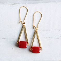 Red Square Earrings ... Geometric Scarlet Block with Vintage Brass on Etsy, $20.78