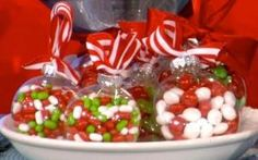 Candy-Filled Ornaments ... Great Gift idea for co-workers or teachers! by janydot