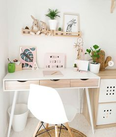 Study Room Decor, Cute Room Decor, Bedroom Decor For Teen Girls, Room Ideas Bedroom, Home Office Design, Home Office Decor, Home Decor, Aesthetic Room Decor, Stylish Bedroom