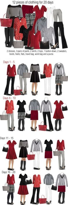 12 pieces: 20 days Red, white and black. Capsule Outfits, Fashion Capsule, Capsule Wardrobe, Fall Outfits, Cute Outfits, Travel Wardrobe, Work Outfits, Dress Outfits, Packing Clothes
