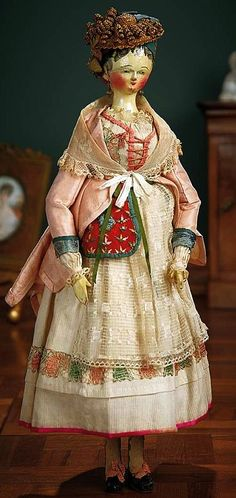 Early Grodnertal Wooden Doll with Superb Original Costume.