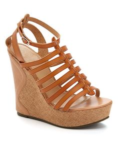 Another great find on #zulily! Camel Strappy Wedge by Carrini #zulilyfinds
