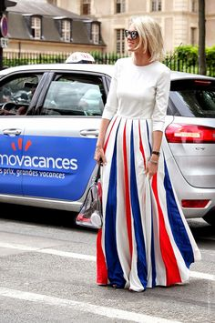 Red, white and blue for you. Dropping a floor length stunner in Paris. Oui.