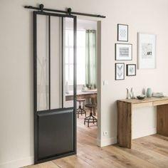 Porte coulissante aluminium noir Atelier verre clair ARTENS, H.224 x l.73 cm | Leroy Merlin