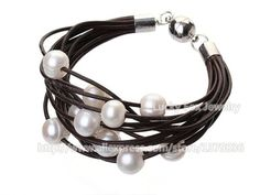Aliexpress.com : Buy Simple Style Multi Strands Multi Color Freshwater Pearl and Leather Bracelet from Reliable Wrap Bracelets suppliers on Lucky Fox Jewelry ✿  ☺ ☻