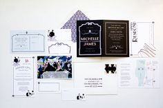 Roaring 1920s Wedding Suite  Megan from MaeMae Paperie recently sent over this beautiful 1920s inspired wedding suite and just had to gush over how fabulous the entire design is. The colors are just right and the logo of the couple on many of the pieces is so sweet. I'm especially loving that Save-the-Date card, the illustration reminds me of poichoir stenciling typical from the 1920s.