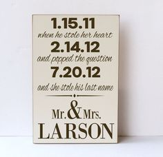 Mr. and Mrs., She Stole His Last Name, Wooden Sign, Wedding Gift, Anniversary Gift, Wedding Decor, Engagement, Bridal Shower,You Pick Colors...