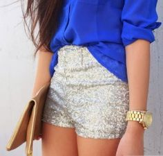 Apparel - Say YES to sequined shorts (high waisted, or shirt tucked... so much fun)