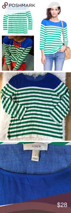 "EUC J. crew Still in really good condition Blouse from J. Crew in size 8. In fun bold colors striped. No flaws.  Rayon. Tailored fit. Three-quarter sleeves. Dry clean. Measure about 25"" length, 21"" sleeves, 16"" shoulder to shoulder, 20"" pit to pit. ❌No trades or modeling. Open to reasonable offers.  15% OFF BUNDLE DEALS. Thank you‼ J. Crew Tops Blouses"