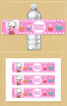 Peppa Pig Water Bottle Labels Pink Plaid  by NineLivesNotEnough