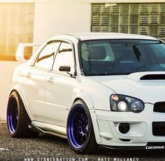 White Blobeye subaru impreza sti on blue ssr wheels.