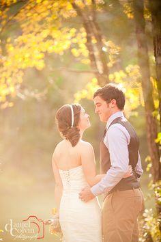 Fall afternoon wedding photo