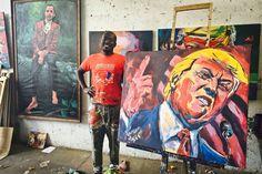 Kenya le peintre  qui etais fan de Obama va faire trump