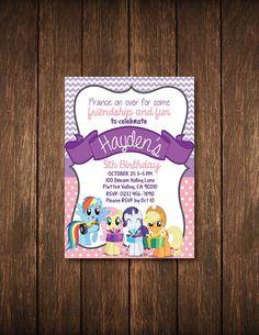 My Little Pony 5x7 Birthday Invitation por LillardwithLove