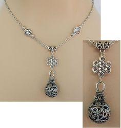 Silver Celtic Knot Bottle Pendant Necklace Handmade Adjustable Beaded Fashion #Handmade http://www.ebay.com/itm/151615689141?ssPageName=STRK:MESELX:IT&_trksid=p3984.m1555.l2649