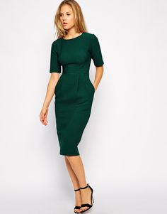 ASOS wiggle dress textured forest green $86