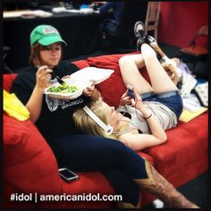 Close friends Skylar and Hollie relax while they wait to rehearse. #idol