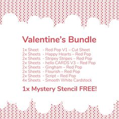 Looking for some red paper to spice up your Valentine's projects? Look no further, we've put together a RED POP Valentine's Bundle at a special price. #valentines #ValentinesDay2021 #valentinescards #withlove #ladypatternpaper #basicessentials #scrapbooking #scrapbookingideas #hellocards #scrapbookingpaper #scrapbookingsupplies #cardmaking #cardmakingideas #cardmakinginspiration Christmas Mini Albums, Christmas Minis, Scrapbook Supplies, Scrapbook Paper, Scrapbooking, Red Sheets, Free Stencils, Red Paper, Happy Heart