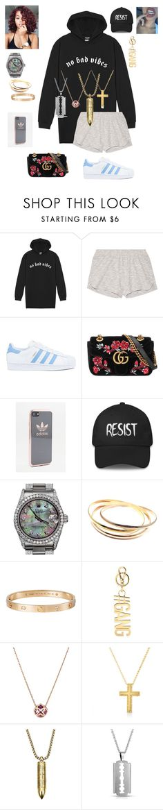 """""""Jenna"""" by phantxm ❤ liked on Polyvore featuring Skin, adidas, Gucci, Rolex, Cartier, Givenchy, Chopard, Roberto Coin and Bling Jewelry"""