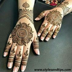 We have got a list of top Mehndi designs for Hand. You can choose Mehndi Design for Hand from the list for your special occasion. Henna Hand Designs, Eid Mehndi Designs, Round Mehndi Design, Mehndi Designs Finger, Indian Henna Designs, Mehndi Designs For Girls, Modern Mehndi Designs, Mehndi Designs For Fingers, Mehndi Design Photos