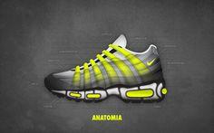 new concept 5a650 29c32 AM95 ANATOMY Air Max 95, Nike Air Max, Shoe Closet, Hiking Boots,
