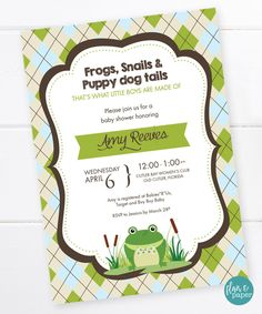 Baby Shower Invitation, Frogs and Snails and Puppy Dog Tails, Baby Boy Shower Argyle Invitation, Golf Baby Shower PRINTABLE DIGITAL FILE by FlairandPaper on Etsy