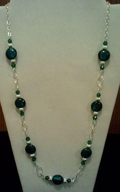 Handgefertigte Perlen Collier mit blaugrün Blattsilber und