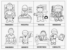 SGBlogosfera: Profesiones: Conocemos Y Coloreamos (16 láminas) Spanish Activities, Teaching Spanish, Activities For Kids, Community Helpers Worksheets, School Worksheets, Community Workers, Speech Language Therapy, Spanish Lessons, Social Science