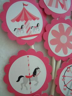 Carousel Birthday Pink Horse cupcake toppers 12 by Lilmisscupcake2, $9.50