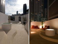 urban architecture office: IWM house   (left) roof garden  (right) at night