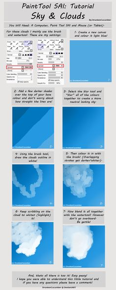 Paint Tool Sai: Cloud Tutorial by DrunkenCucumber on DeviantArt Digital Painting Tutorials, Digital Art Tutorial, Painting Tools, Art Tutorials, Drawing Tutorials, Paint Tool Sai Tutorial, Drawing Sky, Cloud Tutorial, Sky Digital