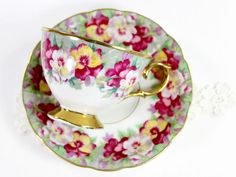 Royal Sealy Vintage Teacup, Tea Cup and Saucer, Gorgeous Hand Painted Pansies 12485