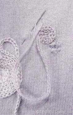 Photo about Creative darning - covering a small hole by freeform cable stitch embroidery. Image of stitch, hole, form - 4383867 Knitting Stitches, Knitting Patterns, Sewing Patterns, Knitting Ideas, Embroidery Applique, Embroidery Stitches, Sewing Hacks, Sewing Crafts, Visible Mending