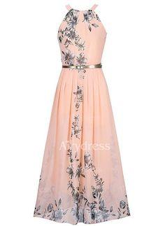 Vestidos Descolado Floral Longo de Chiffon Sem magas (1094834) @