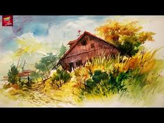 How To Paint A Simple Landscape With Easy Strokes Of Watercolor For Beginners - YouTube