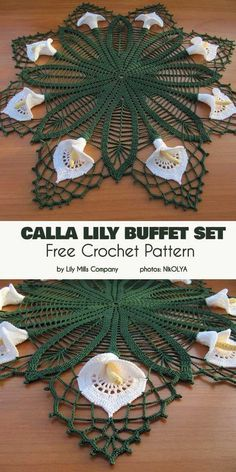 Calla Lilly Buffet Set Free Crochet Pattern – Crochet and Knitting Patterns Crochet Dollies, Crochet Diy, Crochet Home, Thread Crochet, Crochet Crafts, Crochet Flowers, Crochet Projects, Diy Crafts, Free Crochet Doily Patterns