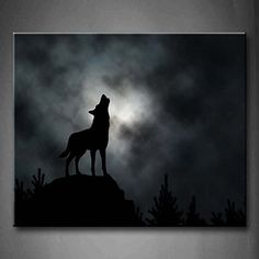 First Wall Art® - Illustrated Silhouette Of A Howling Wolf With Moonlit Clouds Background Trees Rock Wall Art Painting Pictures Print On Canvas Animal The Picture For Home Modern Decoration (Stretched By Wooden Frame,Ready To Hang) Firstwallart http://www.amazon.com/dp/B00MWSN6U4/ref=cm_sw_r_pi_dp_0Lfaxb17QZQVV