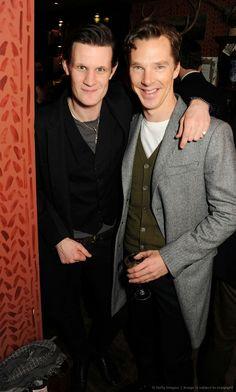 Matt Smith (Eleven) & Benedict Cumberbatch (Sherlock, Smaug, Khan...) adlfja;ldsfjsa;ld df i had a dream where i met them.... at a cafe... it was wonderous!